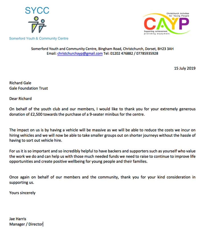 CAYP Minibus Funding Thank You Letter